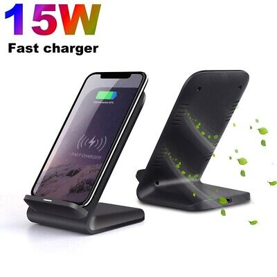UK 15W Fast Qi Wireless Charger Charging Dock Stand For iPhone11 XS Samsung S20