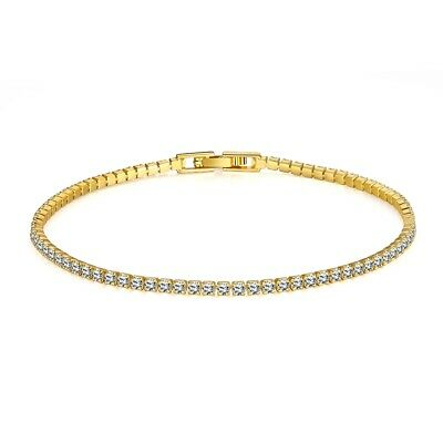 3mm Tennis Bracelet in 14K Yellow Gold Plated Made with Swarovski Crystals