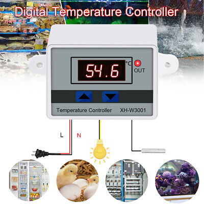 220v Digital Led Temperature Controller 10a Thermostat Control Switch Xh-w3001
