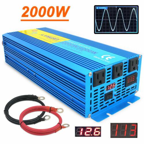 2000W 4000W pure sine wave power inverter 12V DC to 110V 120V AC Converter Trip