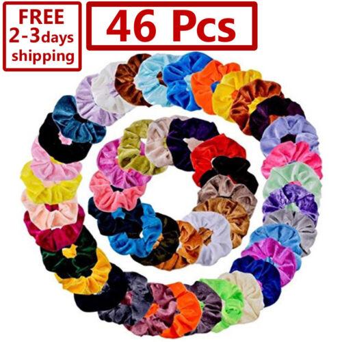 46 Pcs Hair Scrunchies Velvet Elastics Hair Ties Scrunchy Bands Ties Ropes Gifts