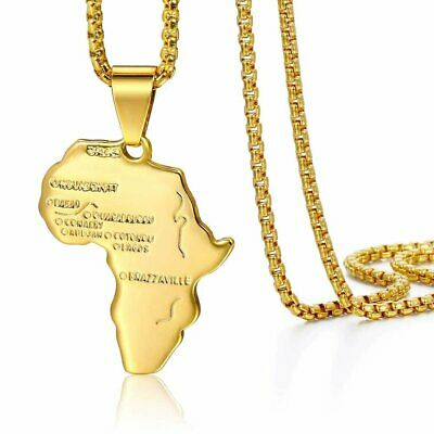 Yellow Gold Filled Africa Map Pendant Necklace Stainless Steel Chain Unisex