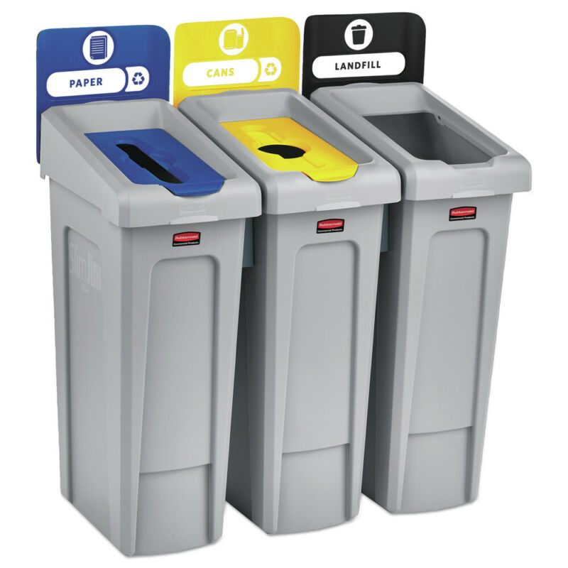 Rubbermaid Commercial 2007917 69 gal. 3 Stream Recycling Station Gray New