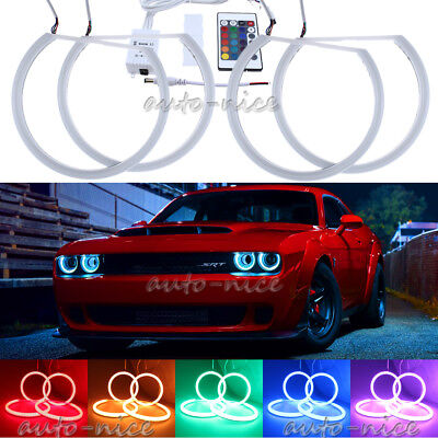 4x RGB 16-Color For Dodge Challenger Headlight Cotton LED Angel Eyes Halo Rings