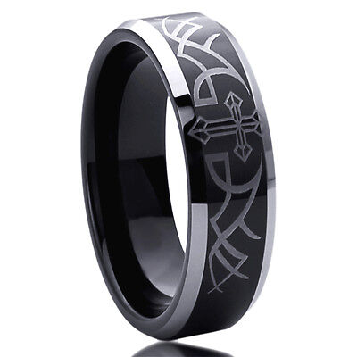 Wedding Band With Cross (Men Women 6MM Stainless Steel Wedding Band Ring Thorn With Cross Black Ring )