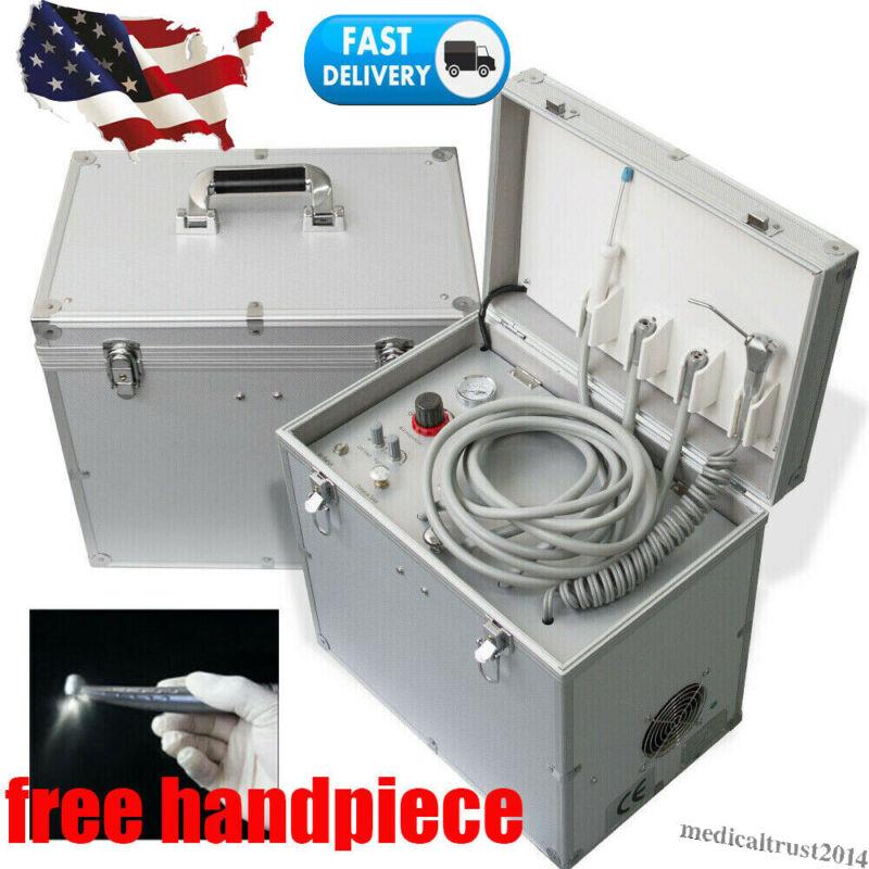 Dental Portable Delivery Mobile Unit Siut Case Handpiece Suction Compressor 410W