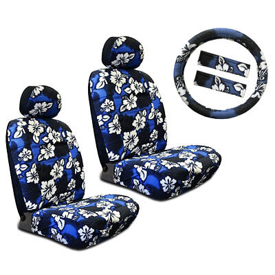 New Blue Hawaiian Flower Hibiscus Car Front Seat Covers & Steering Wheel Cover Seat Covers Hawaiian Cover