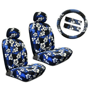 New Blue Hawaiian Flower Hibiscus Car Front Seat Covers Steering Wheel Cover