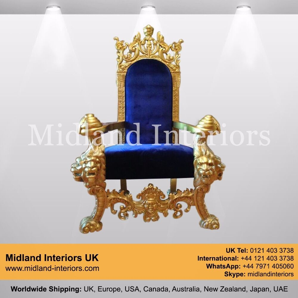 Astonishing New Tiger King Throne Chair Gold Blue Luxury French Download Free Architecture Designs Sospemadebymaigaardcom