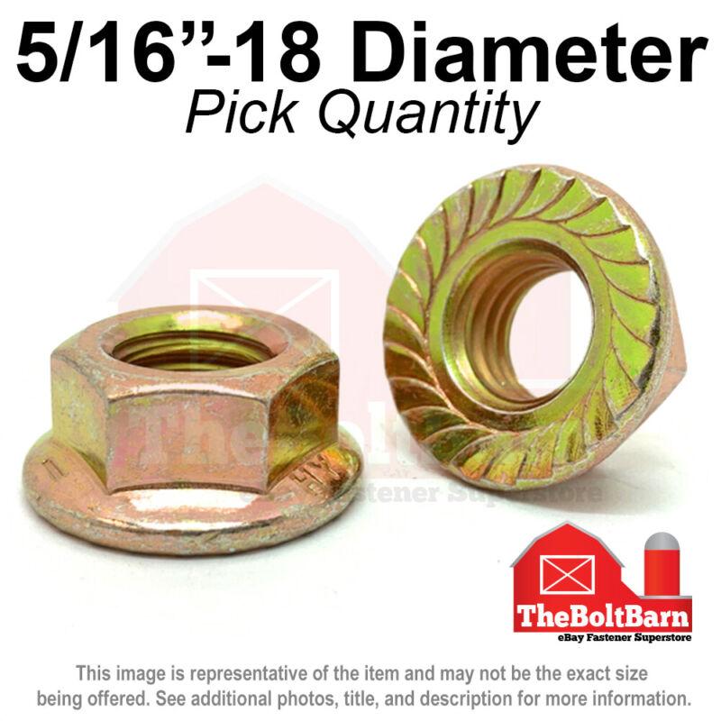 "5/16""-18 Grade 8 Serrated Flange Whiz Lock Nuts Coarse Zinc Yellow (Pick Qty)"