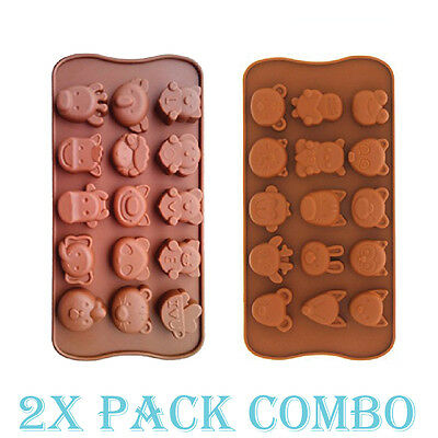 2 Pack Combo Silicone Mold Animal Love Zoo candy Ice cube Tray Chocolate Soap
