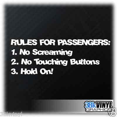 Rules For Passengers Funny Car/Window/Bumper JDM DUB Euro Vinyl Decal Sticker