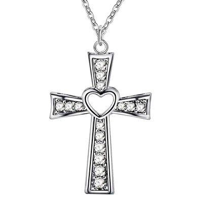 Crystal Cut Cross (Silver wedding Necklace Jewelry crystal Fashion cross 925 Cute women Zircon)