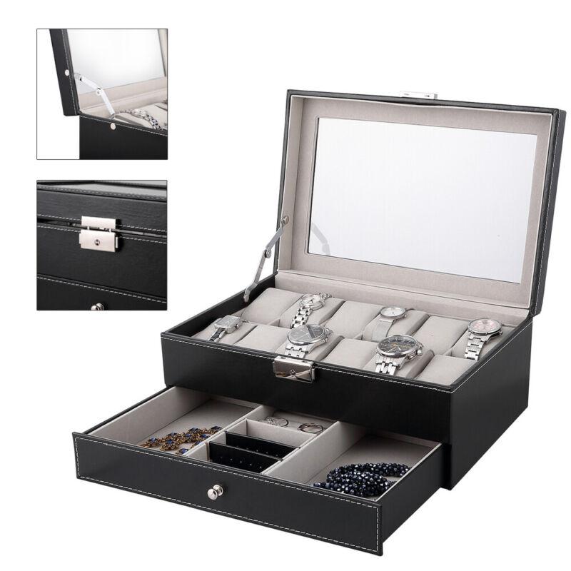 12 Grids Jewelry Case Storage Watch Box Leather Display Organizer Glass Top Gift