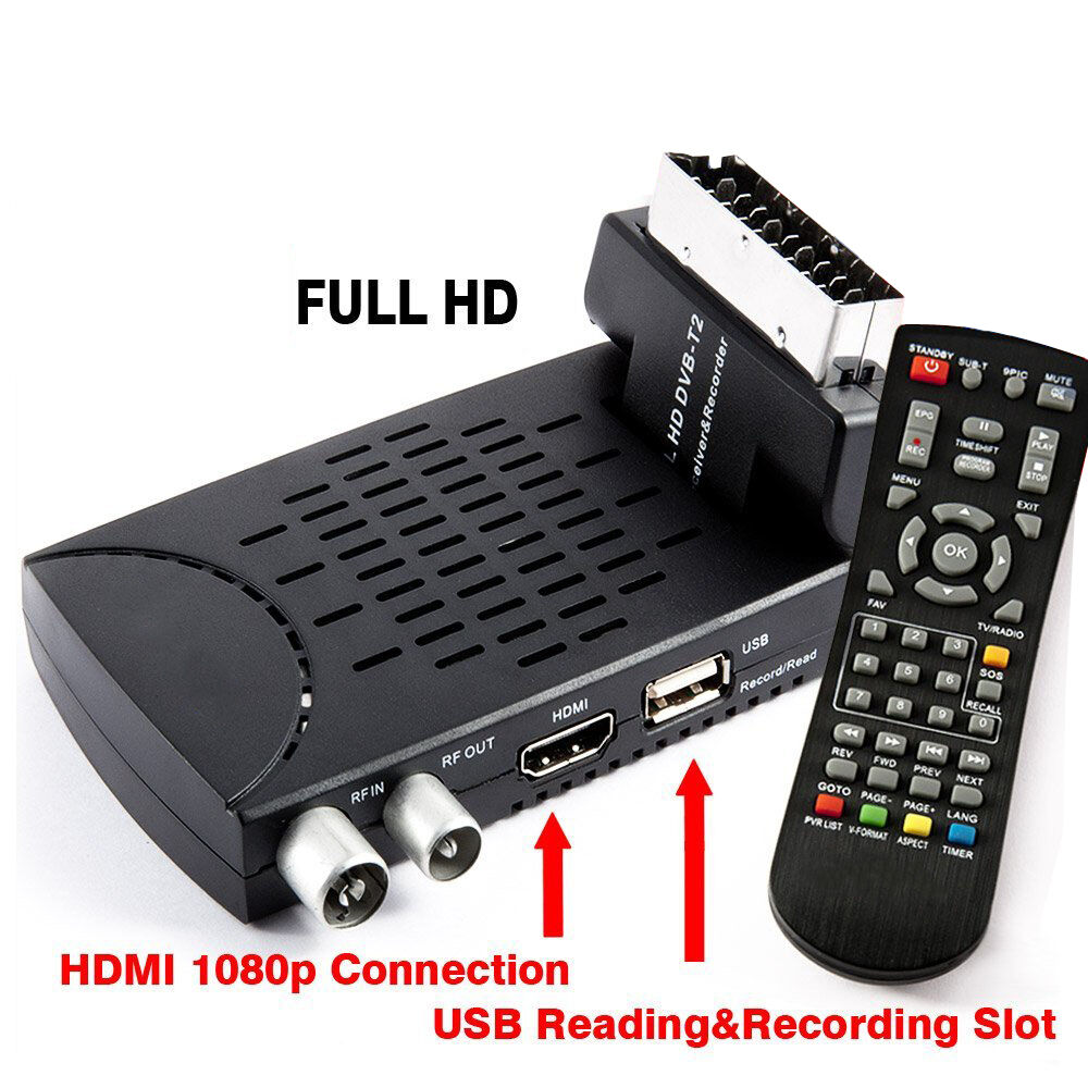 DECODER DVB-T2 HD 1080P DIGITALE TERRESTRE HDMI SCART MPEG4 JPEG USB REG. PVR