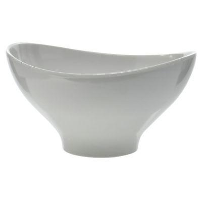 White Serving Bowl Oval 123 oz Curved Melamine - 11 1/2