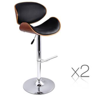 AUS FREE DEL-2x Wooden Kitchen Chair Bar Stool Padded Seat Black