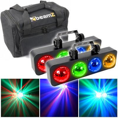 2x Beamz DJ Bank LED Chasing Lights Bar Disco Lighting + FREE Transport Case