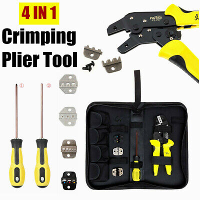 4 In 1 Self Adjustable Wire Crimper Pliers Ratcheting Terminal Crimping Tool Set