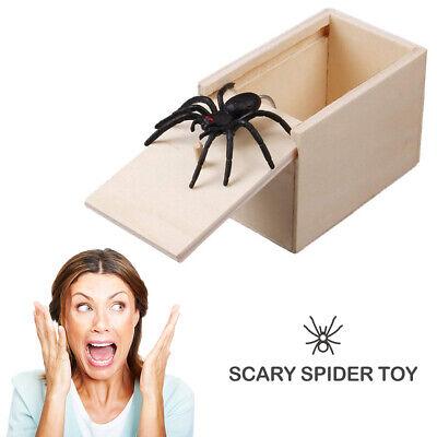 Wooden Prank Spider Scare Box Hidden in Case Trick Play Joke