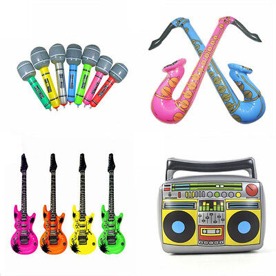 Giant Inflatable Rock Music Instruments Guitar Blow Up Party Bag Prop Beach Toys