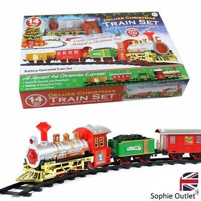 Christmas Toy Train Express Holiday Festive Set Track Light & Sound Kids Gift