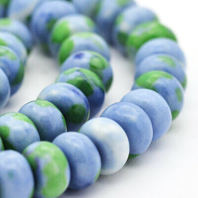 15 Jade Beads 8mm x 5mm Abacus Ocean Tones Dyed Gemstone Beads - BD902