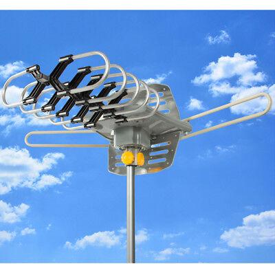 New HDTV Outdoor Amplified Antenna 360 Rotor Digital HD TV UHF VHF 150 Mile