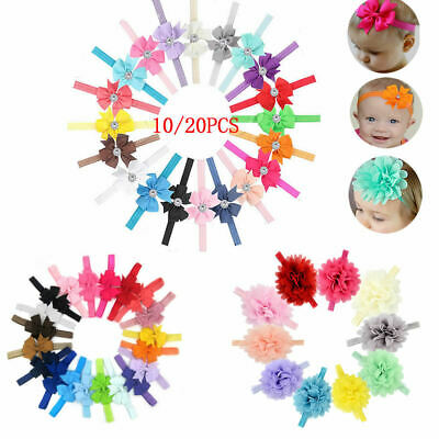10-20pcs Newborn Baby Headbands Set Elastic Kids Girls Bow Hair Band Headdress