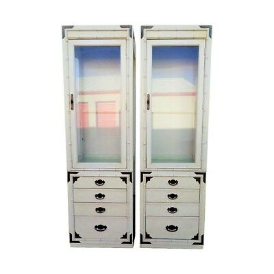 Vtg Pair Thomasville Huntley Lighted Faux Bamboo Display Cabinets Campaign Brass Brass Dining Room Cabinet