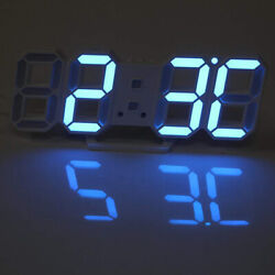 Large LCD 3D Digital LED Wall/Desk Clock USB 12/24 Dispaly Alarm Snooze Blue