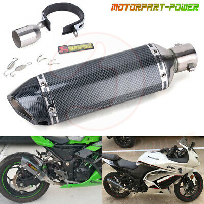 38-51mm Universal Motorcycle Bike Exhaust Muffler Pipe Stainless Steel Tail Tube