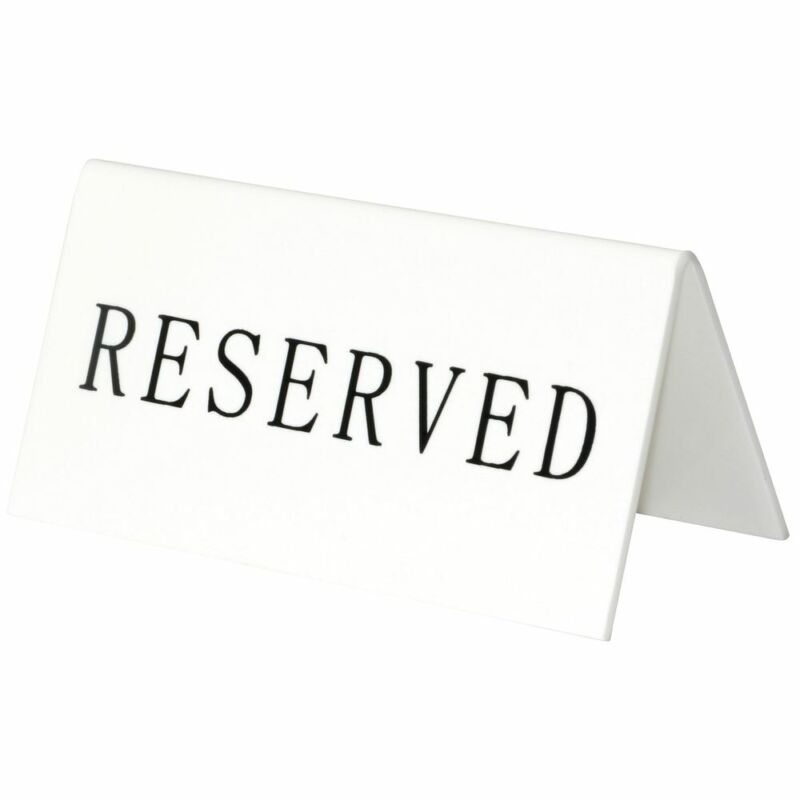 """Reservation Table Sign, Pack of 5, 4"""" x 2"""" (W x H)"""