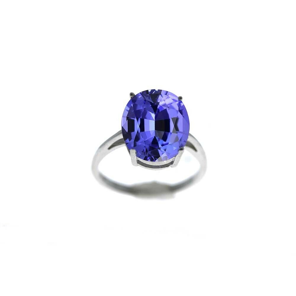 5.00 CTTW Genuine Tanzanite Oval Cut 925 Sterling Silver Ring Sizes 6-9