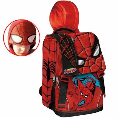 Zaino Cartella Scuola Bambini Spiderman Estensibile con Cappuccio Uomo Ragno