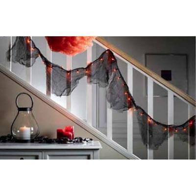 Black Lighted Garland with Orange Lights Halloween Decoration - Halloween Garland With Lights