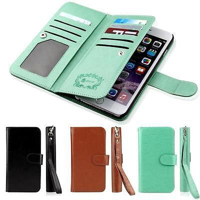 Leather Removable Wallet Magnetic Flip Card Case Cover for iPhone 5S SE 6 6S 7+