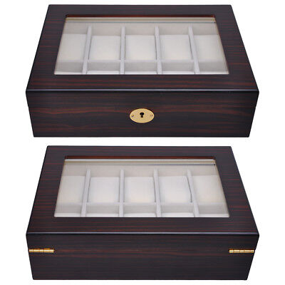 Small Wood Display Case - 10 Watch Organizer Display Case Ebony Wood Glass Top Jewelry Box Storage Gift