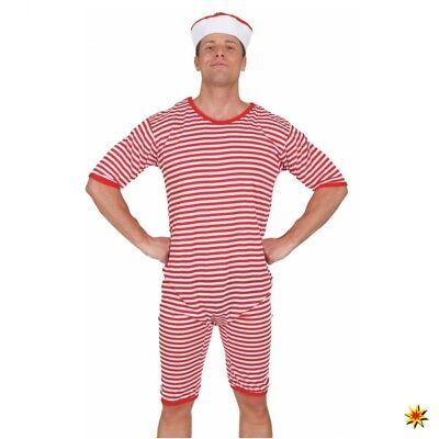 20er Jahre Badeanzug (Badeanzug Gr. M- XXL rot-weiß 20er Jahre Karneval Schwimmer Strandkostüm)
