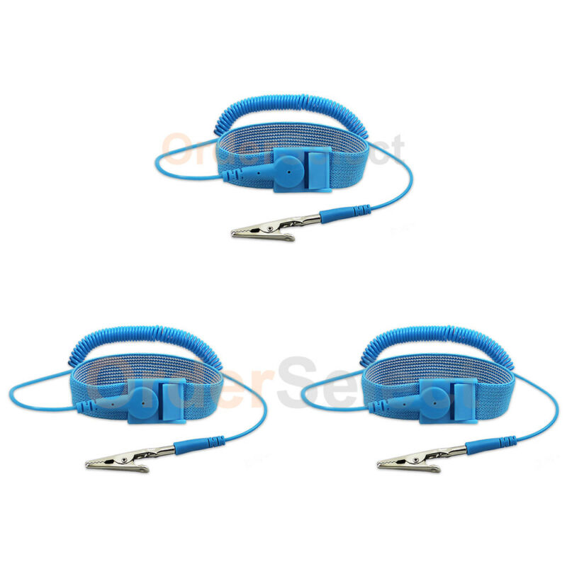 3 Anti-static ESD Adjustable Strap Antistatic Grounding Bracelet Wrist Band Blue