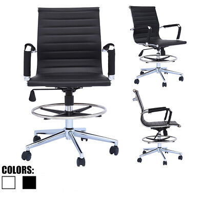 Modern Designer Ergonomic Office Drafting Chair Low Back With Arms Foot Rest