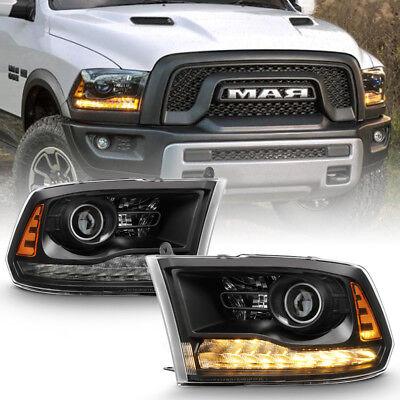 Black 2013-2018 Dodge Ram 1500 2500 3500 LED DRL Projector Headlights Headlamps