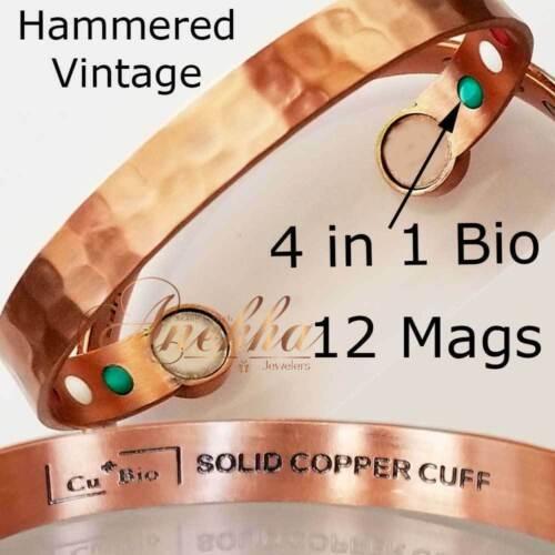 PURE SOLID COPPER VTG HAMMERED 12 BIO MAGNETIC BANGLE BRACELET ARTHRITIS CB46C