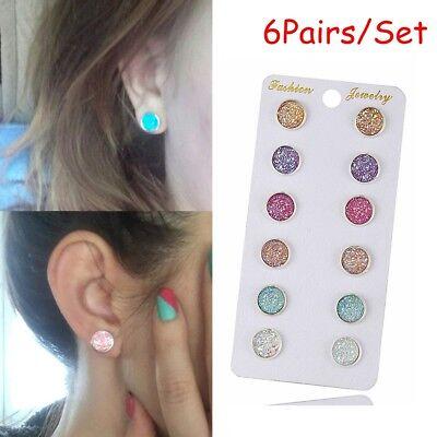 Amethyst Quartz Jewelry Set - 6Pairs/Set Stone Amethyst Quartz Ear Stud Crystal Durzy Earrings Jewelry
