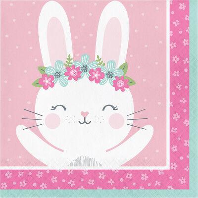16 X Kaninchen Pink Party Servietten Kleines Mädchen 1st Geburtstag Babyparty