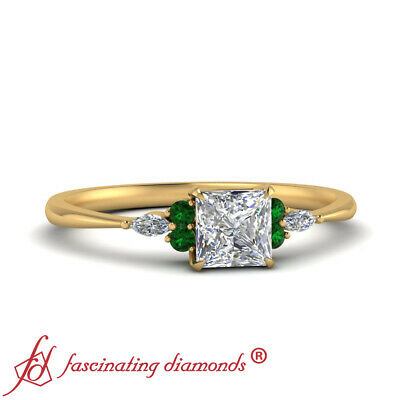 Princess Cut Diamond And Emerald Gemstone 7 Stone Tapered Edge Engagement Ring