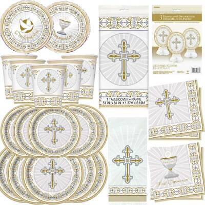 Communion Tableware (Boys Girls 1st First Holy Communion Party Tableware Decorations Royal GOLD)