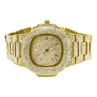 Gold Fully Iced Out Czech Crystal Nautical Luxury Watch
