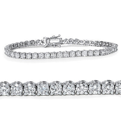 4ct Diamond Tennis Bracelet 14K White Gold 7""