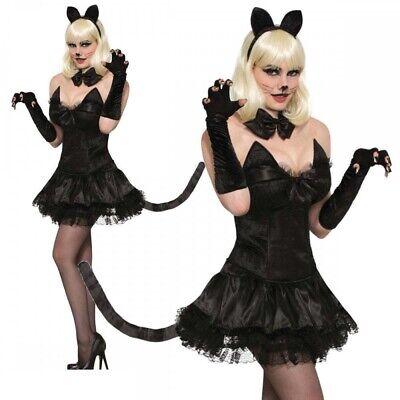 Miss Kittys Costumes (Miss Kitty Cat Sexy Black Costume Halloween Carnival Womens Fancy Dress)